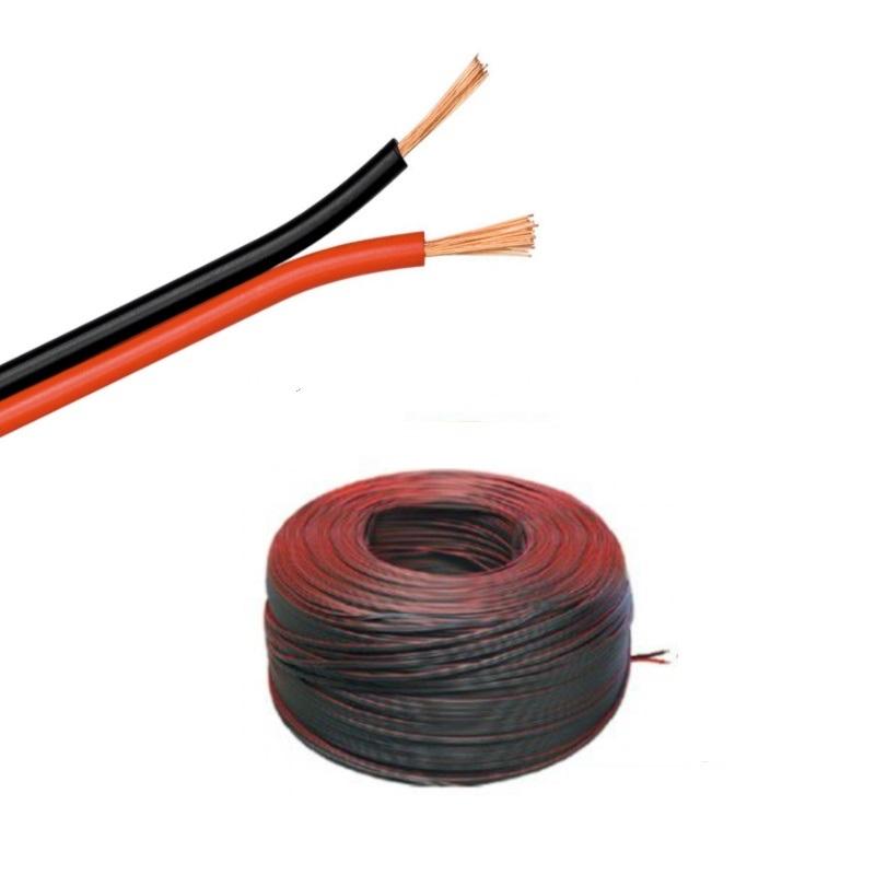 (0,49€/m)5-100m LED Kabel Zwillingslitze 2x 0,50mm² rot/schwarz 2-adrig - Länge