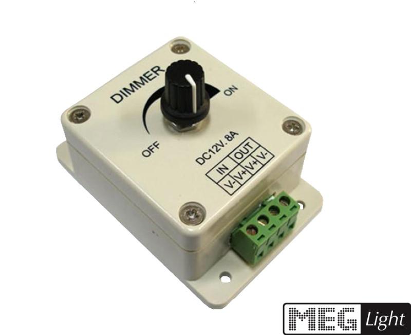 LED Dimmer / SMD Dimmer stufenlos dimmen -Drehknopf- 12-24V/DC max. 8A / 96W
