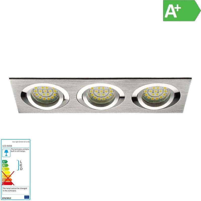 "3er Einbaurahmen MR16/GU10 schwenkbar ""SEIDY"" 3x 80mm DA Aluminium gebürstet"