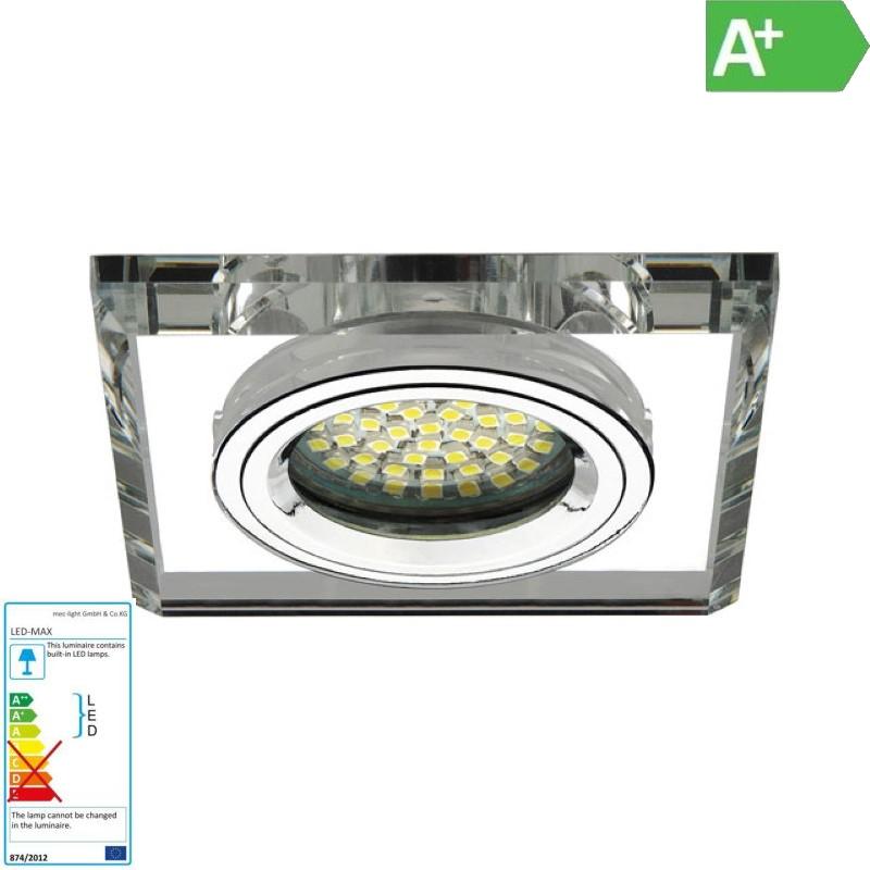 """Einbaurahmen MR16/GU10  -eckig- Kanlux """"MORTA"""" 65mm DA (CT-DSL50-SR) - Glas silb"""