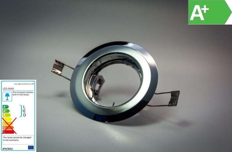 Einbaurahmen für MR16/GU10 - rund / starr - 55mm DA - Aluminium Chrom