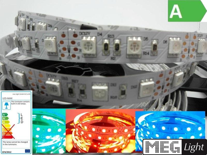 1m flexibler RGB-LED Streifen/Stripe 60x 5050SMDs/m 12V - 14,4W - IP20