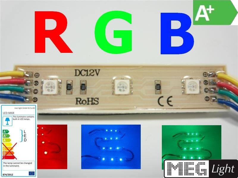 RGB-LED Modul mit 3x 3-Chip SMDs 12V/DC 0,72W 60Lm 120°-  IP65 (MW-WP-5050-3RGB)
