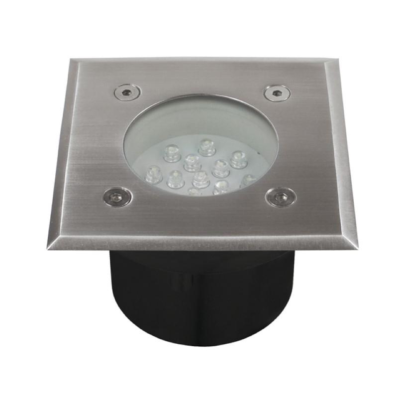 LED Bodeneinbauleuchte -quadratisch- 14x LEDs -1W / 230V- 65mm - kalt-weiß IP66