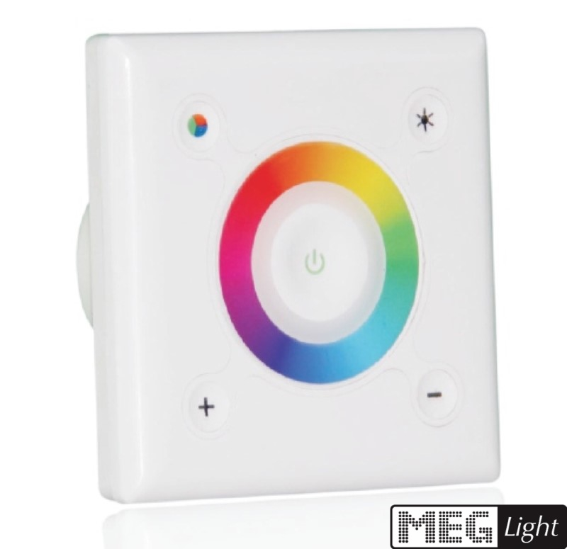 3-Kanal RGB-LED Touch-Controller / 3-Zonen -Wandeinbau- Farbrad - 12-24V/DC - 3x