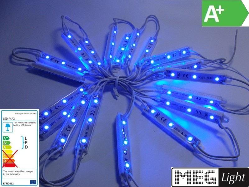 LED Modul mit 3x SMD-LEDs 12V DC Leiste -wasserdicht- IP65 blau