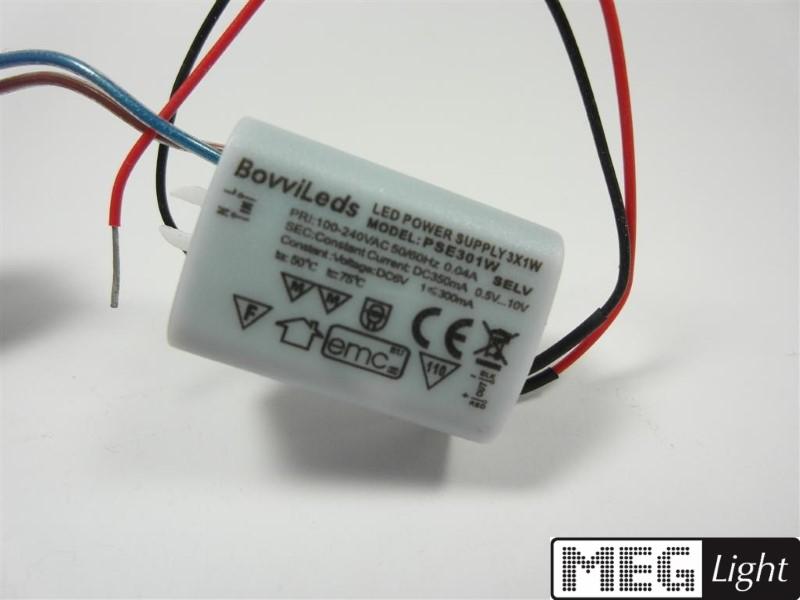 3W LED Netzteil - LED Trafo 300-350mA Konstantstrom für 1W LEDs 3-11V