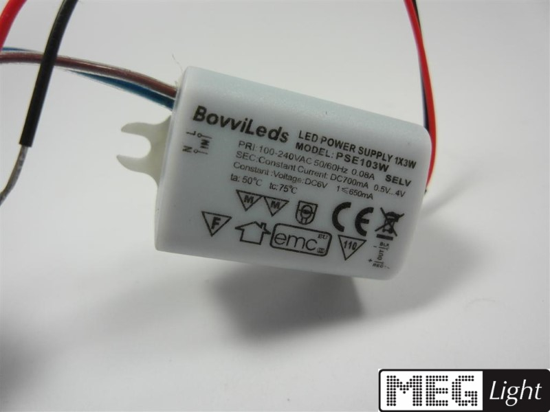 3W LED Netzteil - LED Trafo 700mA Konstantstrom für 3W LED