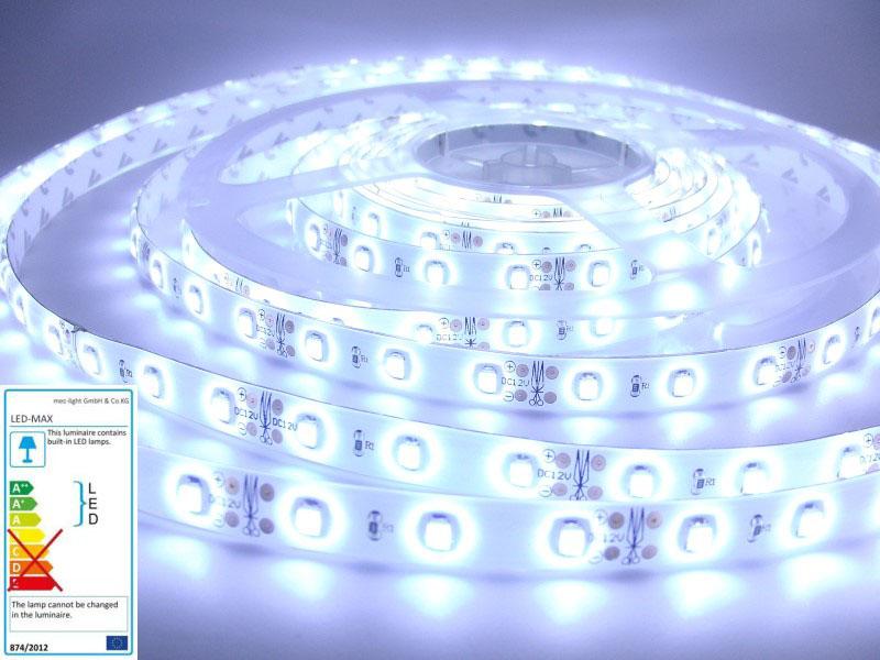 1m LED Streifen/Stripe 60x SMD3528/m 300Lm 12V 6W Ra=90 - kalt-weiß (6000K) IP63