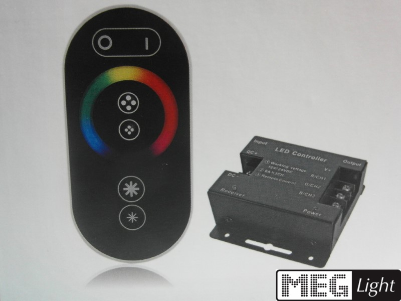 RF RGB Controller V8 (3x 6A) + Touch Fernbedienung FUNK mit Farbrad 12-24V/DC
