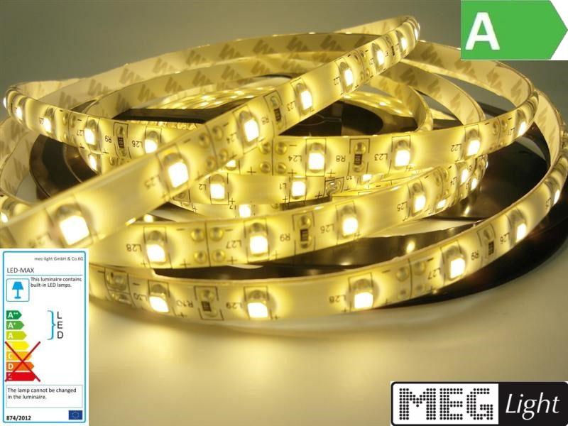 1m LED Streifen 60x SMD3528/m 300Lm 12V 6W Ra=90 - warm-weiß (3000K) IP65