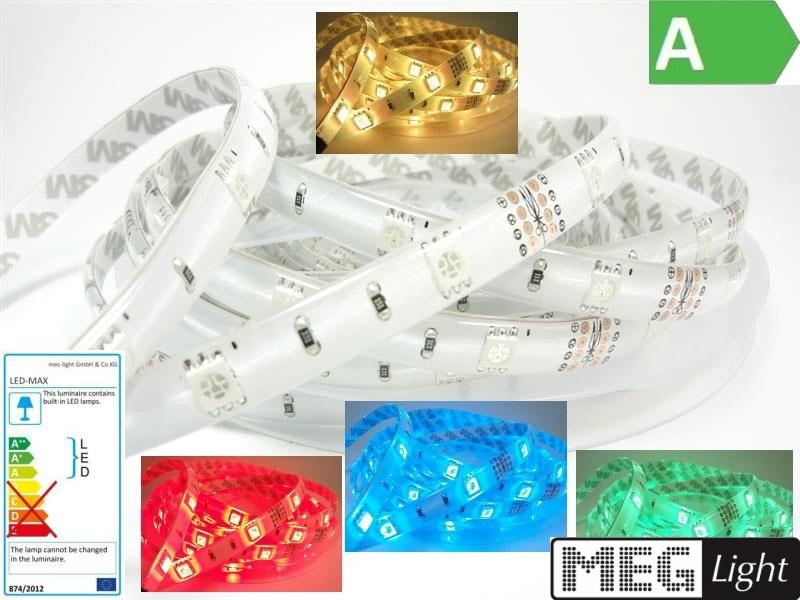 1m RGB-LED Streifen/Stripe 30x 3-Chip-SMDs/m 12V -WASSERFEST- IP63