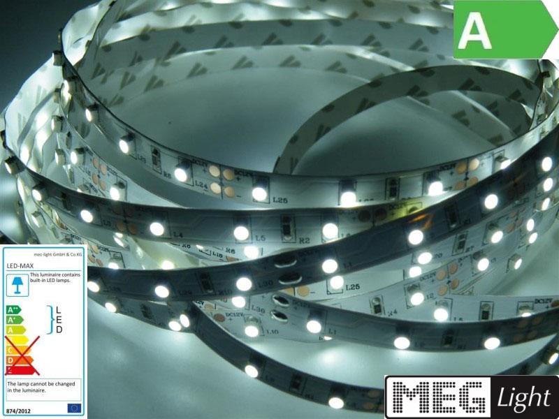 1m LED Streifen/Stripe 60x SMD3528/m 300Lm 12V 5W - kalt-weiß (6000K) IP20