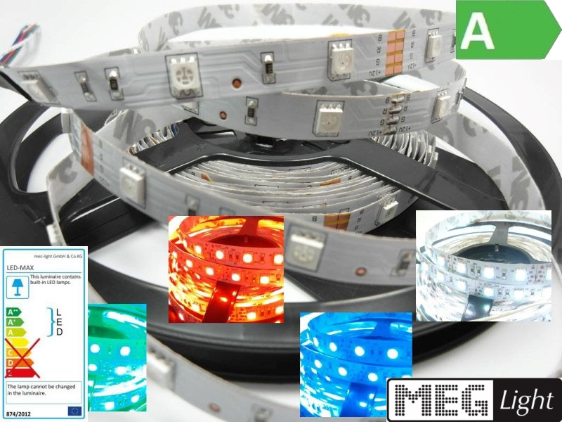 1m flexibler RGB-LED Streifen/Stripe 30x 3-Chip-SMDs/m 12V - IP20