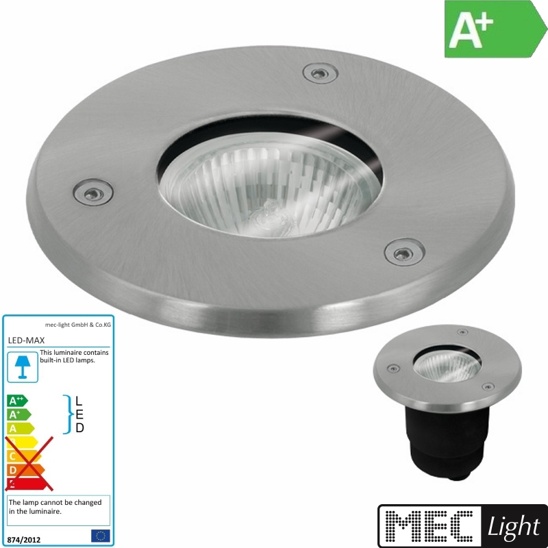 LED Bodeneinbauleuchte / Bodeneinbaustrahler rund für GU10 Strahler - 66mm IP67