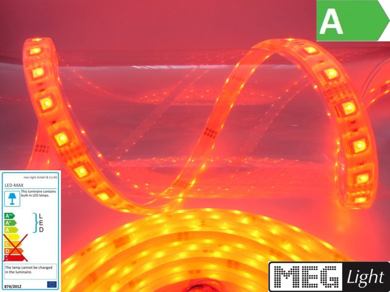 1m RGB-LED Streifen/Stripe 30x 3-Chip-SMDs/m 12V -WASSERDICHT- IP68