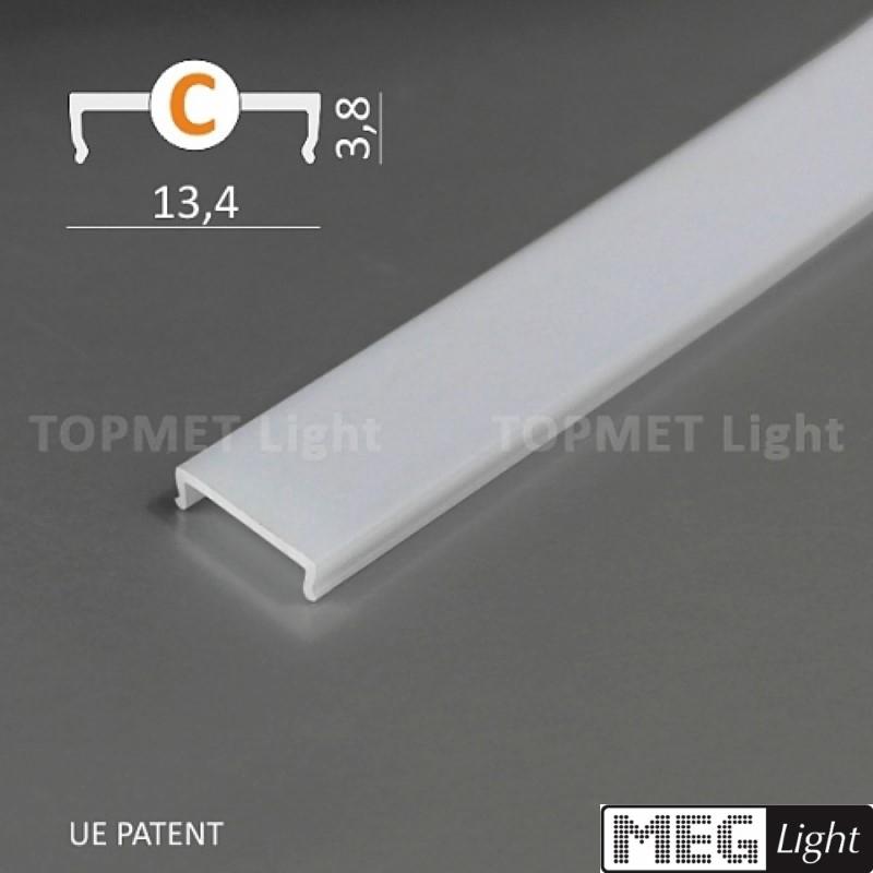 (1,98€/m) 2m Abdeckung für Aluminiumleisten milchig / opal 2 Meter